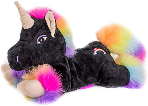 Habibi Plush Premium – 1848 Unicorno 'Black Rainbow' con cuscino a semi estraibile, in tessuto termico, per riscaldare nel forno a microonde