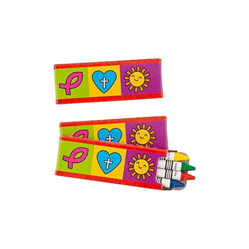 Fun Express - Religious Valentine Crayons for Valentine's Day - Basic Supplies - Drawing - Crayons - Valentine's Day - 24 Pieces