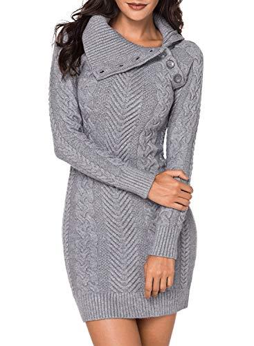 Aleumdr Automne-Hiver Robe Pull Femme Tricoté à Col Revers Bouton Robe Mi-Longue Chandail Pull Chaud - Gris - L