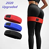 Fabric Resistance Bands Booty Band - Non-Slip Design for Glute and Hip Exercise, 3 Resistance Levels Workout Bands for Fitness, Yoga, and Pilates 2020 Upgraded - Blue - Size M