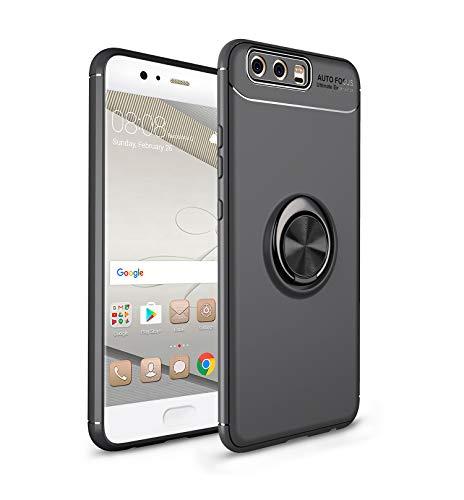 FNBK Ring Hülle kompatibel mit Huawei P10, Ultra Dünn Kickstand Handyhülle 360 Grad Metall Ring Ständer Magnetische Autohalterung Schutzhülle für Huawei P10,Schwarz + Schwarz