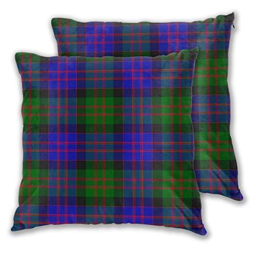 Pack de 2 fundas de almohada cuadradas decorativas suaves, fundas de cojín de tartán Macdonald para sofá, dormitorio, coche, 50,8 x 50,8 cm