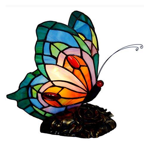 JEANN-WSLamp Kinder personalisierte gemalte Schmetterling Nachtlicht, Glasmalerei Flügel, 15W Beleuchtung Antik Harz Basis Weihnachten Kindertagsgeschenk,E