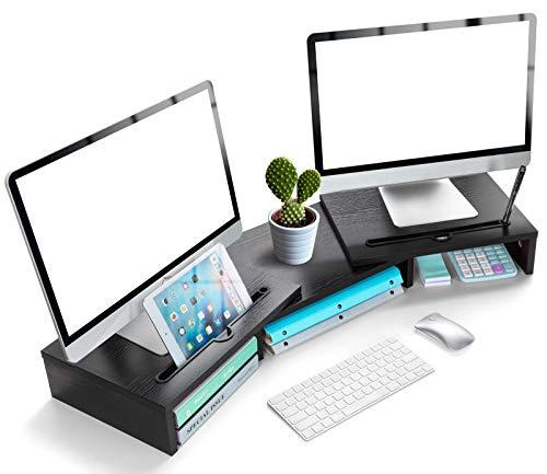 LORYERGO Monitorständer Holzmaterial mit Verstellbarer Länge und Winkel 2 Extra funktioneller Slot Monitorerhöhung Desktop Organizer Ständer für PC Monitor Drucker etc- Schwarz