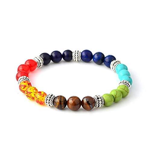 Odoukey 1Pack 7 Chakras Bracelet Chakra Bead Bracelets Healing Balancing Round Beads Fancy Jewellery Gift For Women Girls