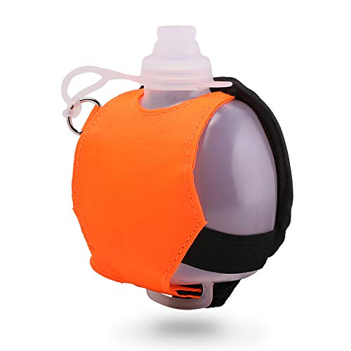 Eyourlife Silicone Water Bottle - Wearable Hands Free Wrist Bottle w/ Cover Adjustable Wristband - 7oz Mini Hydration System for Running, Jogging, Cycling, Hiking, Camping, Traveling