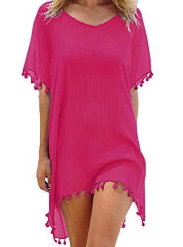 ADREAMLY Damen Strandkleid Sommerkleid Bikini Cover Up Sommer Bademode Longshirt Tunika Strandponcho(Rose Rot )