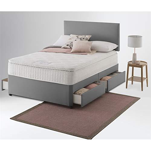 Slate Grey Divan Bed | Linen Look Divan beds with mattress 10' and headboard-2 Drawers same side (4FT Small Double, Memory Foam Mattress 10')