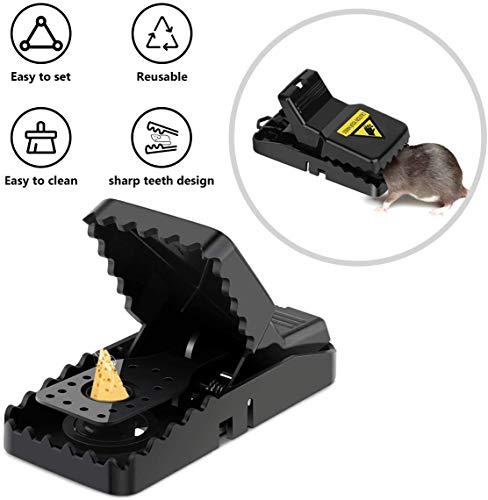 BACKTURE Trampas para Ratones, Trampa a presión Reutilizable para Ratones, fácil de configurar y atrapasueños de Alta sensibilidad, Trampa para roedores para Interiores y Exteriores (Paquete de 6)