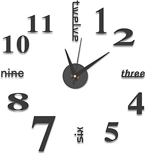 BESTZY 2 Pezzi Orologi da Parete 3D, Orologio da Parete Adesivo Silenzioso DIY Adesivo 3D Stickers Numeri Romani Orologio da Parete Decorazione per Casa, Ufficio, Hotel