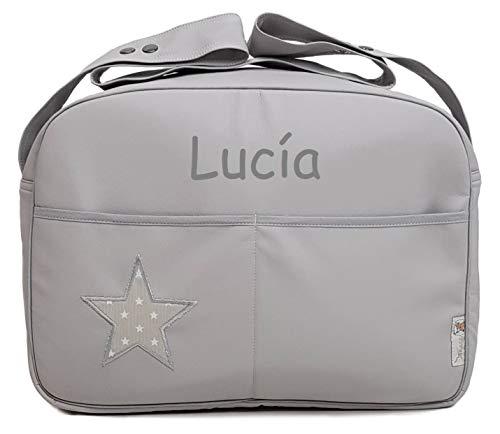 Maxi bolso para carrito de bebé BORDADA CON EL NOMBRE del bebé. Varios modelos y colores disponibles. (Star gris)