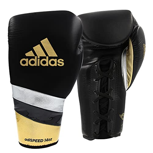 adidas Boxing Gloves - Hybrid 50 - Sparring Gloves for Boxing, Kickboxing, Cardio & Training - Muay Thai Gloves - Boxing Gloves for Men and Women (Black/Gold, 12 Oz)