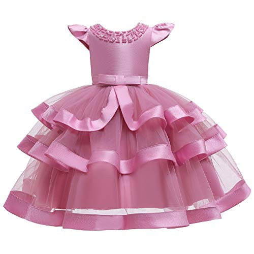 FKKFYY Princess Dresses for Girls Size 6 Blush Pink Pageant Party Holiday Graduation Dress for Girls 5T 6T Dresses Ball Gowns for Girls Sleeveless Birthday Fancy Ruffle Dress (Pink 130)