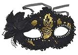 VENTURA TRADING Negro Oro Máscara de la Mascarada Mascarilla Veneciana Decoración de Plumas Mujer Mascarada Disfraz Fiesta Pelota Paseo