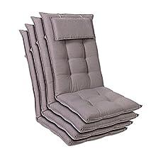 Homeoutfit24 Sylt - Cojín Acolchado para sillas de jardín, Hecho en Europa, Respaldo Alto con cojín de Cabeza extraíble, Resistente Rayos UV, Poliéster, 120 x 50 x 9 cm, 4 Unidades, Gris Platino