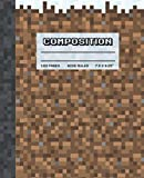 Composition Notebook: Wide Ruled Writing Paper Workbook for Kids, Cool Pixel Gamer Snow & Earth Block Pattern, Blank Lined Comp Book for School (Pixel Block Composition Notebooks)