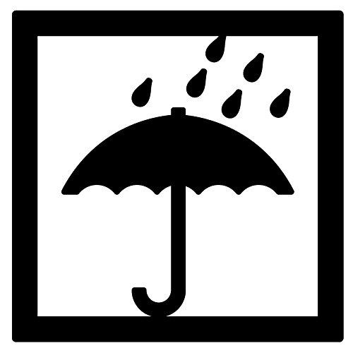 nc-smile 水濡れ厳禁 80mm 取扱 注意 警告 ステッカー シール 荷物 スーツケース 航空機荷物 (ブラック)