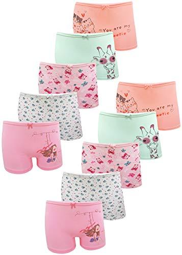 LOREZA ® 10er Pack Mädchen Pantys Boxershorts Unterwäsche aus Baumwolle (152-158, Modell 3)