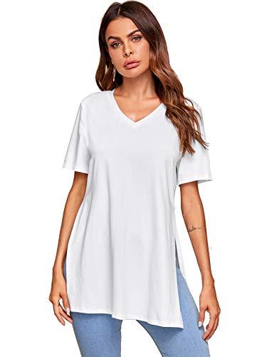 Verdusa Women's Casual Split Side V Neck T-Shirt Longline Tunic Tee Top White S