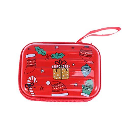 Amosfun Kerst Munt Tas Box Pocket Box Opbergdoos met Rits voor Oortelefoon Data Kabel Kaart Kerstmis Tas Decoratie Gift S Kerstmis