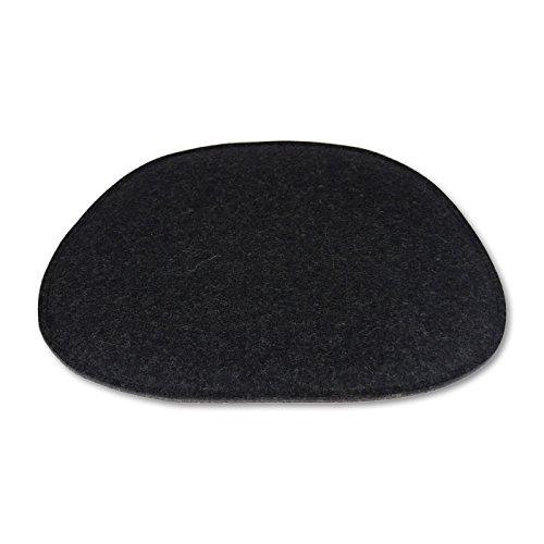filzbrand Coussin de siège en Feutre Design déco Premium (100% Laine), pour Eames Chairs, en Forme de trapèze, Longueur : 35 cm, Largeur : env. 38/20 cm, Bicolor : Anthracite/Graphite