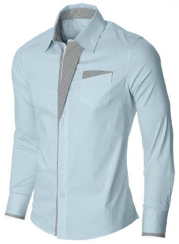 Newfacelook Élégant Trendy Hommes Occasionnels Mince Chemises habillées Belle Slim Fit Top Shirt Collection