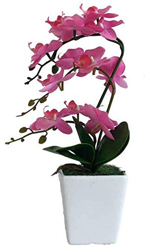 HUAYQ Artificial Orchid with Pot,Simulation Potted Plants,Artificial Flower Ornaments,Imitation Plants,Decoration for Home Office Wedding