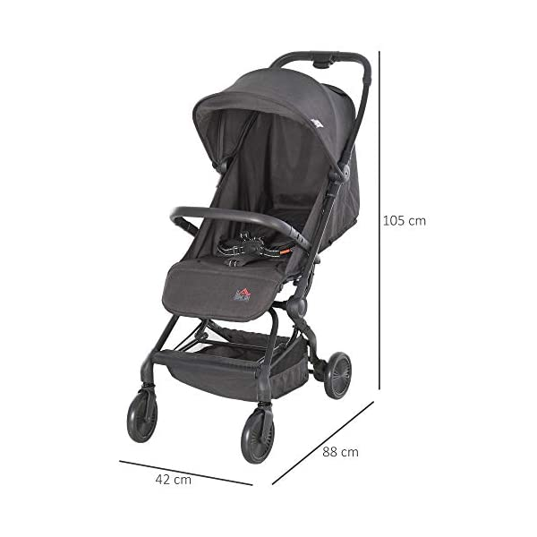 HOMCOM Lightweight Baby Stroller Pushchair Buggy Adjustable Reclinable Back Aluminum Frame, Five Point Harness, One Hand Foldable, Storage Basket, Suspension Wheels for 0-36 Months HOMCOM ✅ADJUSTABLE COMFORT: Adjustable seat back angle of 105°-170°, reclinable footrest can be adjusted in 3 gears, the adjustment angle is 31 °, 55 °, 78 °, retractable canopy provide personalized comfort and usability. ✅SAFE FEATURES: Four universal and impact absorbing wheels for smooth rolling, rear wheel with brakes for easy parking, as well as an adjustable five-point safety harness to keep them securely strapped in . ✅FOLDABLE & LIGHTWEIGHT: One-click opening and folding design, easy to put away when not needed, great for when you 're travelling by car. Safety guard is removable for less storage space. 2
