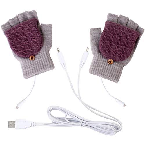 Petyoung Unisex USB Heated Gloves, Winter Full & Half Fingers Warmer Laptop Gloves Mittens for Women Men Girls Boys- Best Winter Gift Choice (Light Gray + Purple)