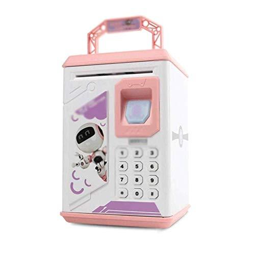 GJRFYJ Mini cajero automático con contraseña electrónica de dibujos animados, caja de ahorro de dinero, para niños y niños (color: rosa)