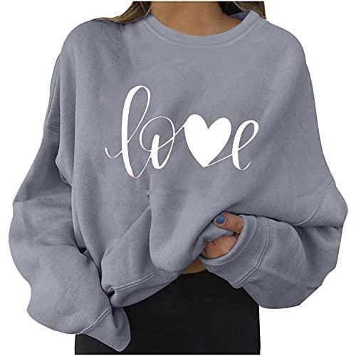 Gkojhj Sudadera Sin Capucha para Mujer LOVE Impresión Causal Sweatshirt tops OtoñO Primavera Manga Larga Talla Grande Cuello Redondo Jersey blusas Holgada Fiesta Pullover hoodie Ropa Deportiva