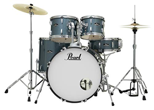 Pearl Roadshow Drum Set 5-Piece Complete Kit with Cymbals and Stands, Aqua Blue (RS525SC/C703)