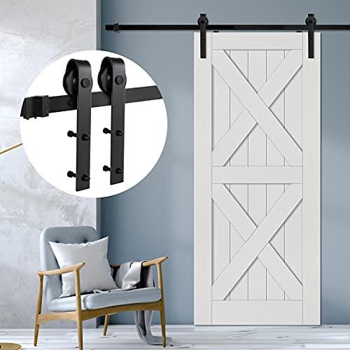 """Blackant 5FT Sliding Barn Wood Door Hardware Kit Heavy Duty Door Rail Rail Track System Smoothly and Quietly Single Barn Door Hardware Fit 30"""" Wide Door Panel (J Shape Hangers)"""
