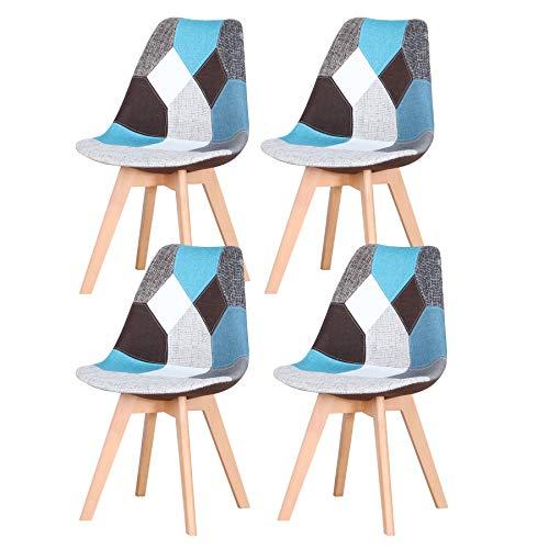 Set di 4 sedie da Pranzo scandinave, sedie da Tulipano Imbottite retrò da Cucina/Sedia da Ufficio con Gambe in Legno massello di faggio (Blu)