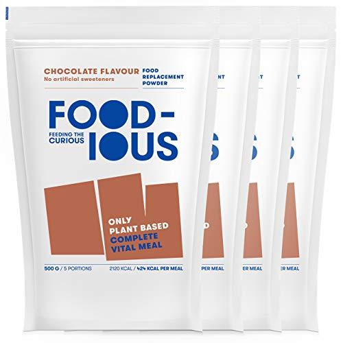 FOODIOUS Schokolade Eiweißpulver-100% Vegan-Ideal als Mahlzeitersatz oder Diät Shake-Only 5g of Sugar per Meal-Frühstückspulver 4 Pack x 500g=20 Mahlzeiten-Premium Zutaten-Low in Zucker Protein Pulver