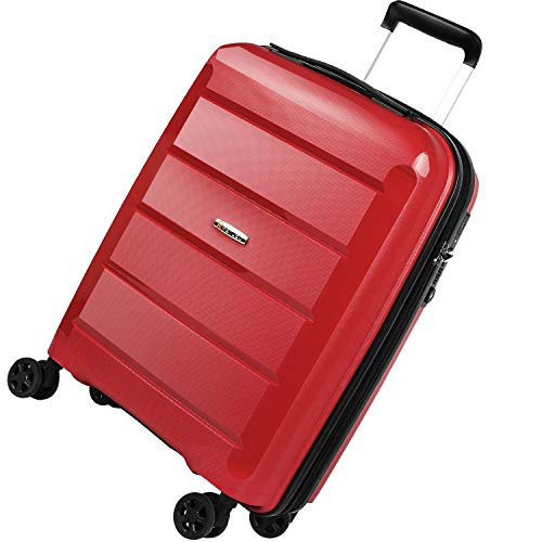 REYLEO Maleta Cabina Rígida 100% Polipropileno Equipaje de Mano con Puerto de Carga USB, Candado TSA, 4 Ruedas Silenciosas (56CM - 31.5L) - Rojo