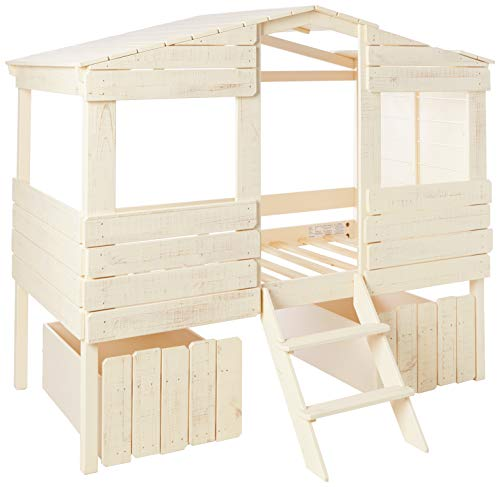 Donco Kids Tree House Low Loft Bed, Twin, Rustic Sand
