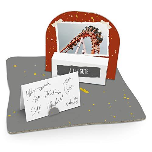 itenga Geldgeschenk I Motiv Achterbahn Foto/Freizeitpark I Mitbringsel I Gutschein I Geschenkverpackung mit Bodenplatte, Geschenkkarte und Stickerbogen - zum Basteln und Dekorieren