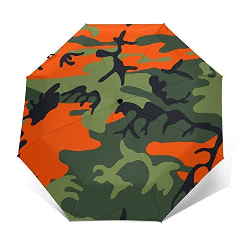Novelty Folding Travel Umbrella, Waterproof, UPF 50+, Ergonomic Handle, Auto Open/Close, Orange Camouflage Memorial Day Automatic Umbrella for Beach Wedding Gifts