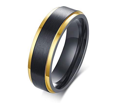 VNOX 6 MM Schwarz Gebürstet Edelstahl Zwei-Ton Goldrand Ehering Ring Für Männer, Größe 67 (21.3)