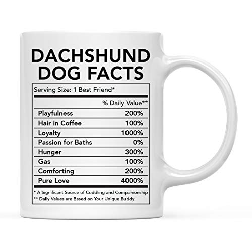 Andaz Press Funny Dog Lover's 11oz. Ceramic Coffee Mug Gift, Dachshund Nutritional Facts, 1-Pack, Dog Mom Dad Birthday Christmas Ideas