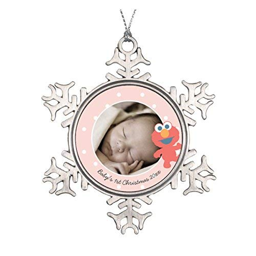 LilithCroft99 Baby's First Christmas - Elmo Pewter Snowflake Christmas Ornaments,Christmas Tree Decorations Ornaments,Keepsake,Novelty