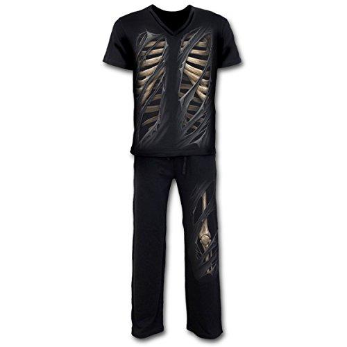 Spiral Bone Rips Pyjama Schlafanzug Gothic Knochen Skelett