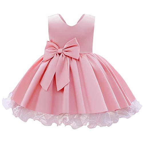 IWEMEK Vestito da sera per bambina, senza maniche, con scollo a V, in tulle satinato, da principessa, per matrimonio, damigella d'onore, comunione, compleanno, feste, ballo Colore: rosa. 3-4 Anni
