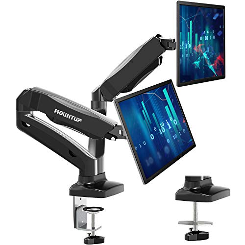 MOUNTUP Dual Monitor Stand - Adjustable Gas Spring Dual Monitor Mount, Monitor Desk Mount with C...