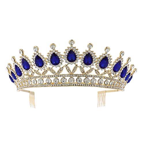 Bruid strass tiara retro blauw kristal kroon goud prinses haaraccessoires voor bruiloft blauw