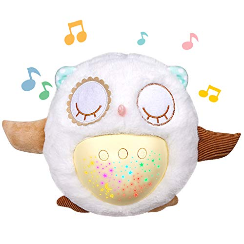 Toyixi Baby Sleep Soothers, Owl White,Night Light,Sound Machine,Sleep Aid,Baby Girl Gifts & Baby Boy Gifts,Pillow pet,Plush Doll
