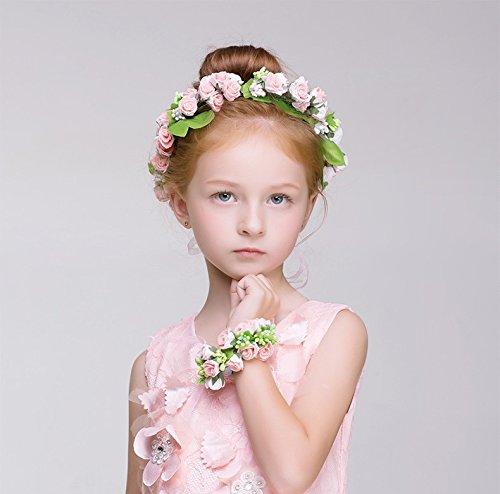 KMALL Rosa coroncina fiori capelli con bracciale fiore per sposa damigella d'onore bambina donna per matrimonio fotografia corona ghirlanda fiori fascia fiori