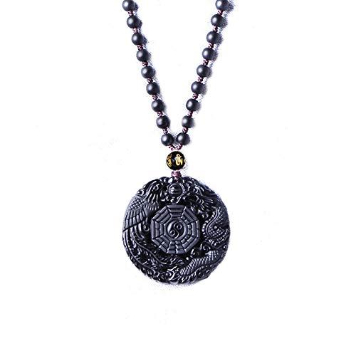 NIHE Natural Obsidiana dragón y la Cadena del Grano Collar Colgante de Buda Phoenix Cinco Elementos Tai Chi Amuleto Unisex