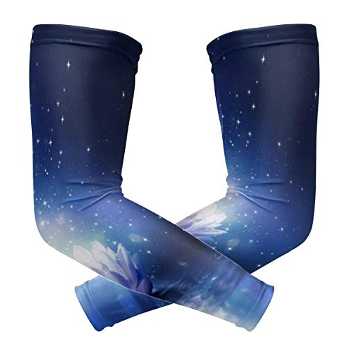 Penelope McCarthy Mangas de brazo Water Lily Flower Bloom Sparkle Lotus Womens Baseball Mangas largas de enfriamiento Sun UV Compression Arm Covers